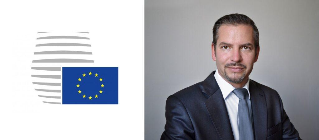 Logo Rady EU a fotografie Petra Klementa