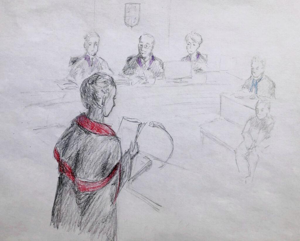 Ilustrační kresba - státní zástupkyně u soudního líčení